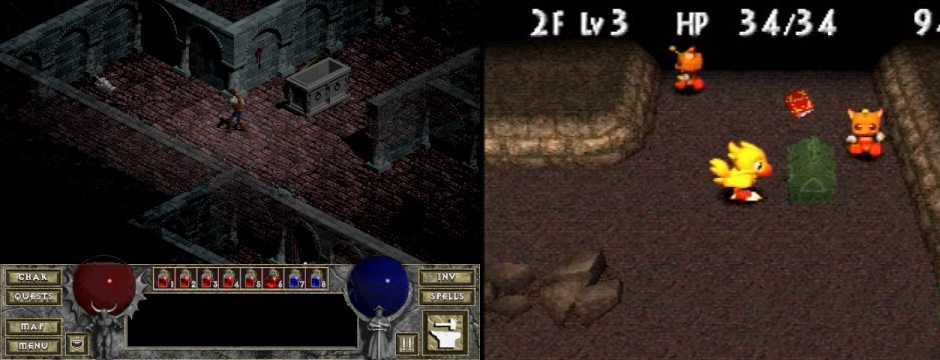 In the left: Diablo 1, one of the successful games of its kin. In the right: Chobobo's Dungeon, for Playstation 1
