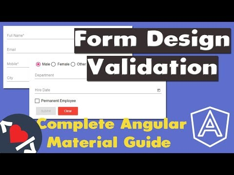 Video Tutorial for Angular Material Form Design