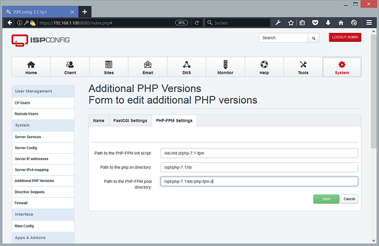 Additional PHP Versions - PHP-FPM Settings