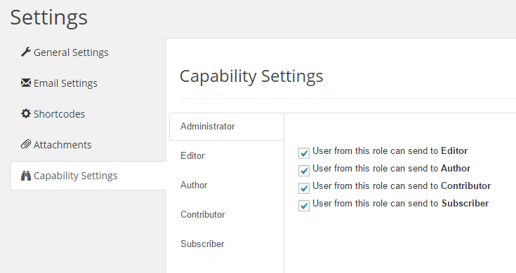 Capability Add-on Settings Page