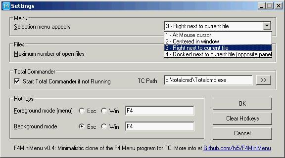 General program settings