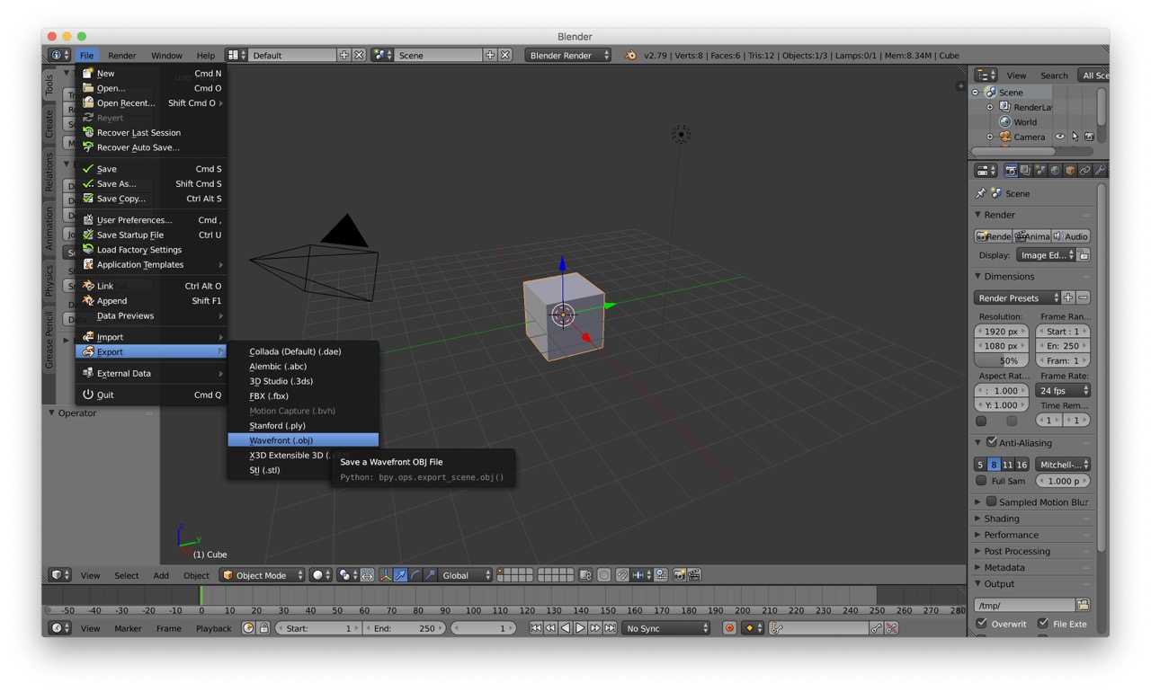 Blender export screenshot
