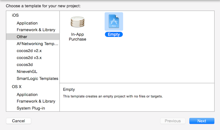 Create An Empty Project In Xcode