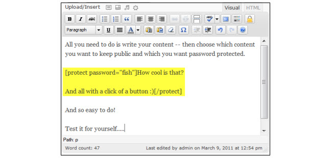 Example of the content wrapped inside password protect shortcode