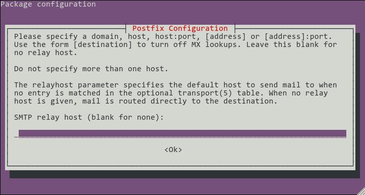 screenshot of relay host configuration screen