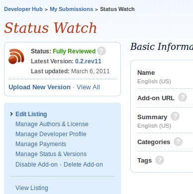 devhub status box and nav panel