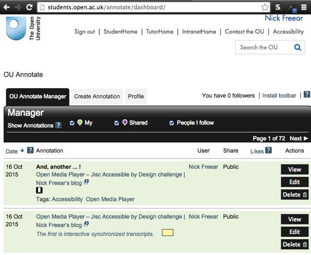 OU Annotate – annotation manager - screen shot 2