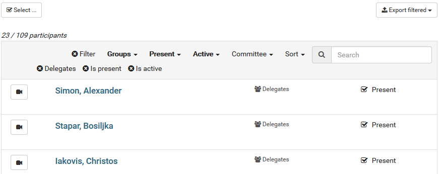Filtered participant list