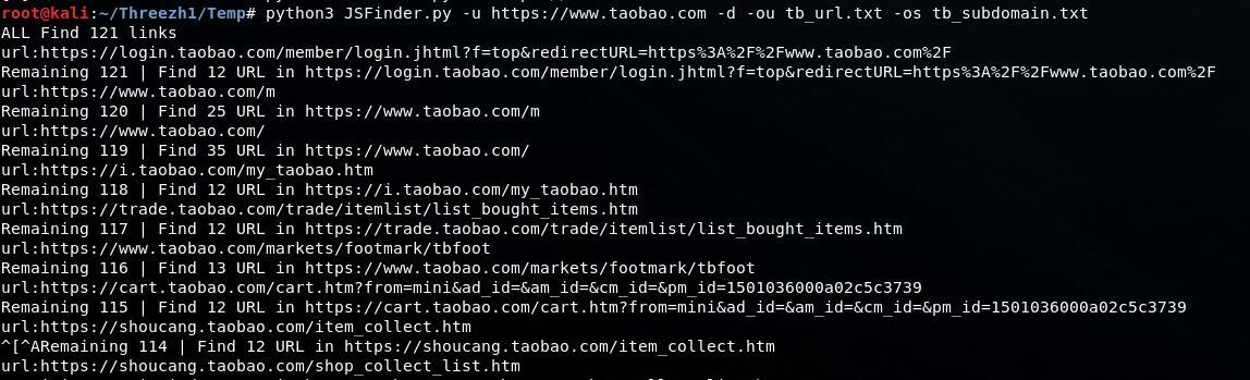 JSFinder 网站js中提取URL,子域名的工具