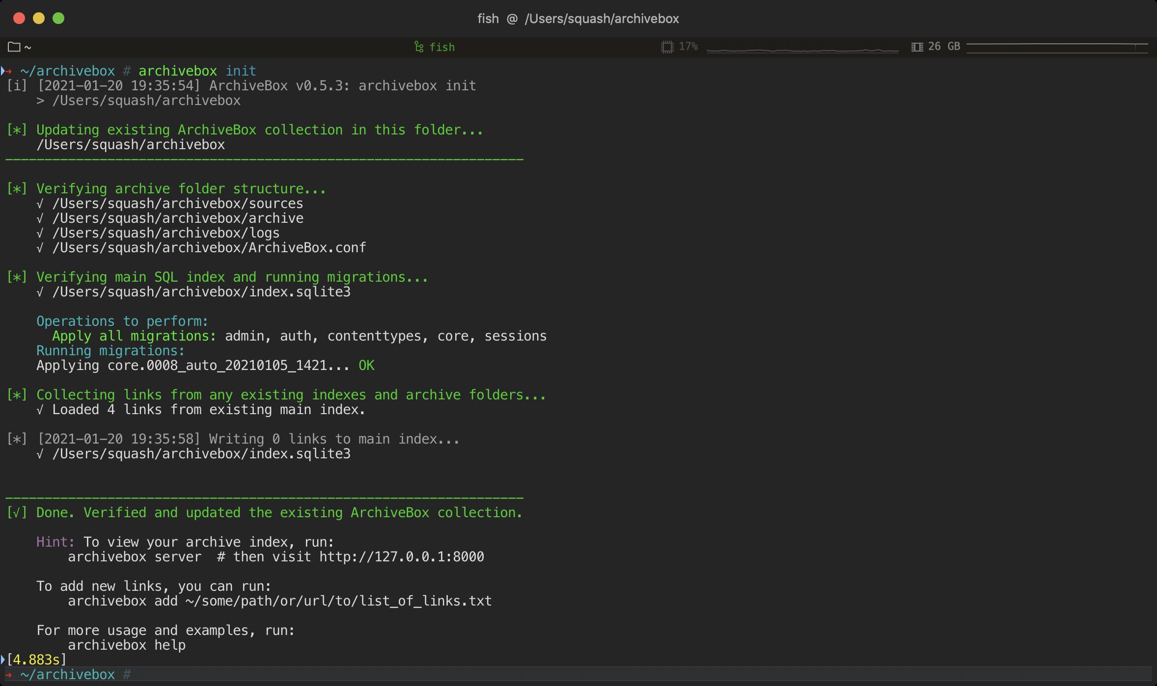 archivebox init