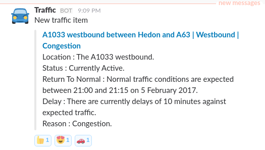 GitHub - alxwrd/slack-traffic: A slack bot for traffic alerts in the UK