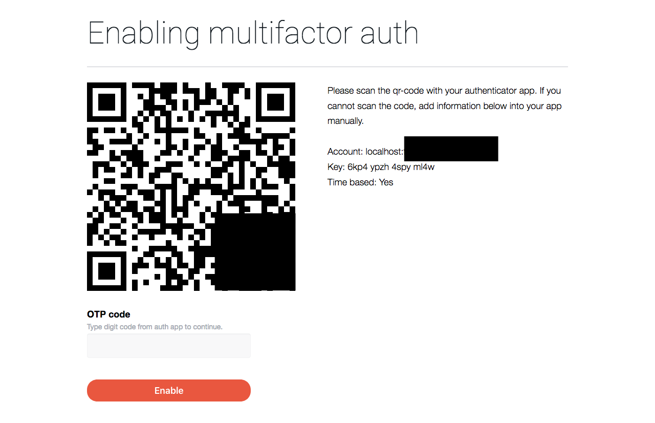 MFA enabling page (part of QR-code and account hidden)