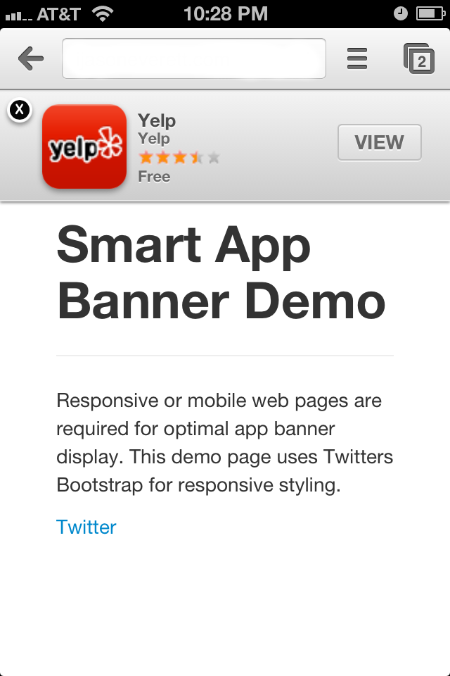 Smart App Banner Chrome Example