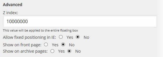 Floating Social - Settings - Advanced