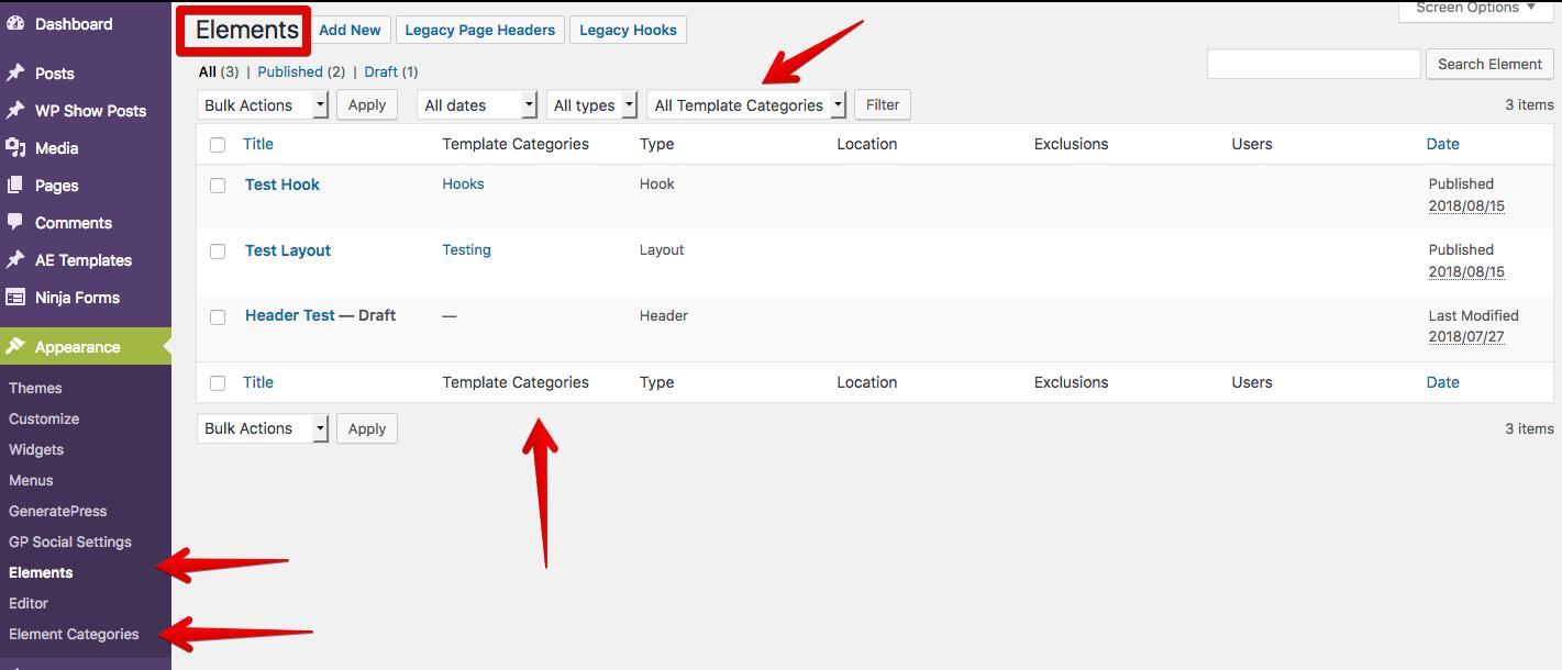 "Template categories for ""GeneratePress Elements"" - GP Premium plugin (v1.7+)"