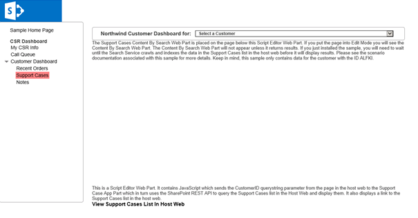 The Customer Dashboard, Support Cases page.