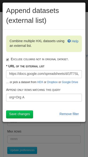 Append datasets (external list) filter form.