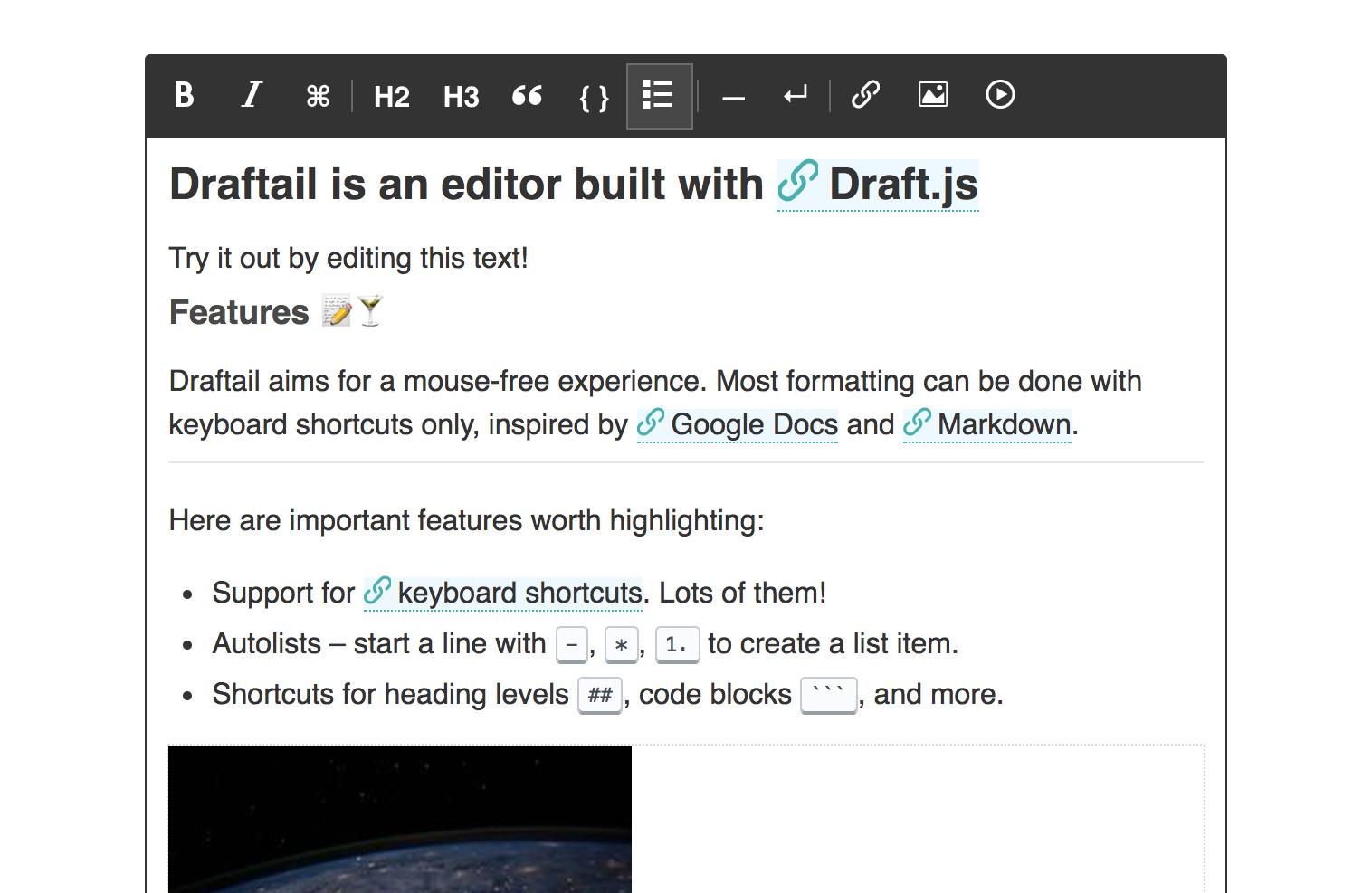 Screenshot of Draftail
