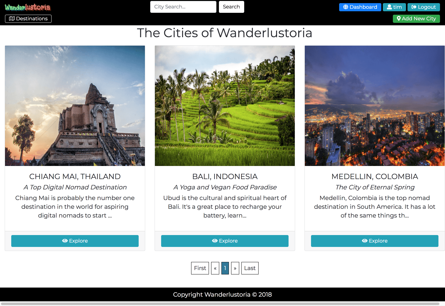 Cities Page
