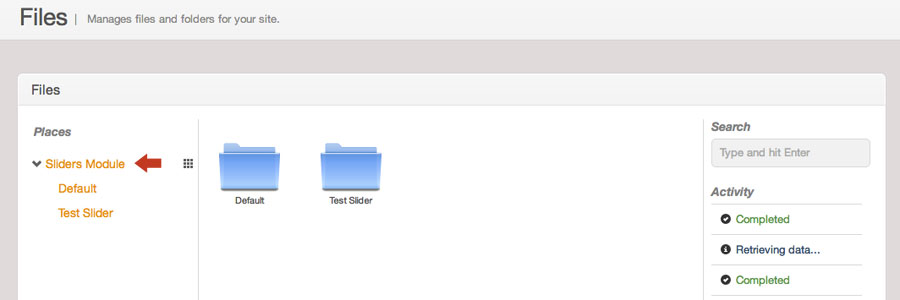 Create a folder for each of your sliders within the module's default folder