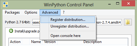 Winpython Control Panel>Advanced>Register distribution