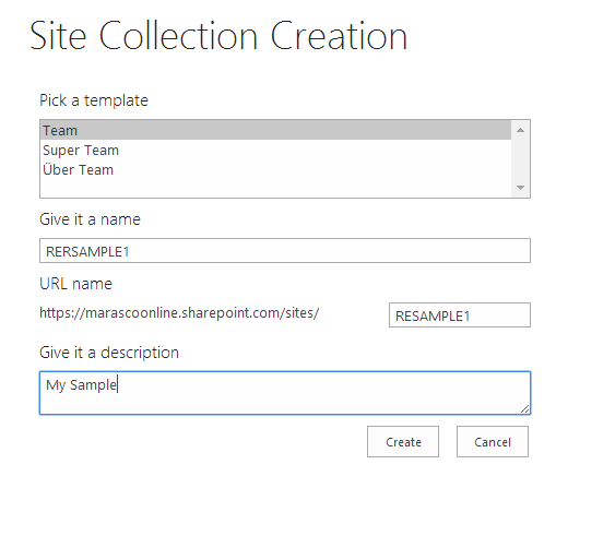 Add-in UI for creating new site collection