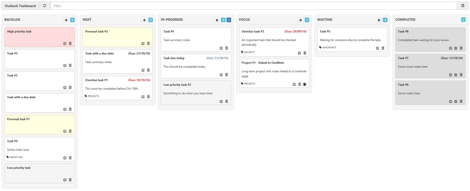 Outlook Taskboard