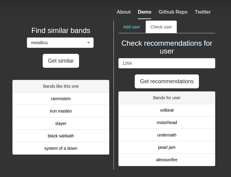 GitHub - AmaanC/music-recommender: A proof of concept project to