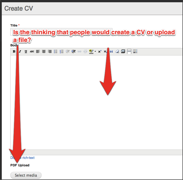 reorder the pdf upload and editor features on create cv page issue