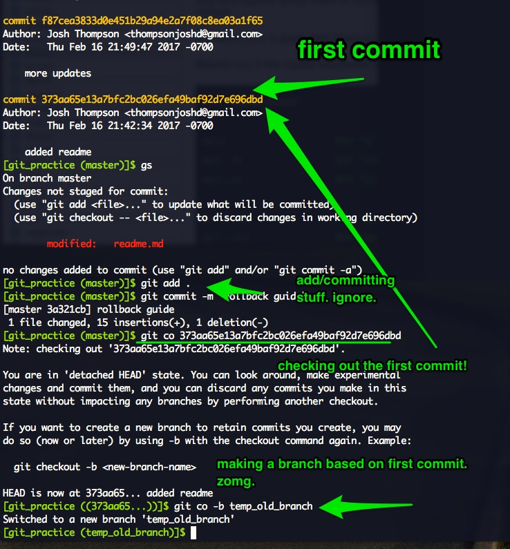 git checkout old commit
