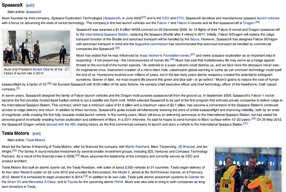 Elon Musk Wikipedia Article, XKCDified