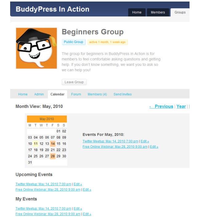 BuddyPress Group Calendar in action