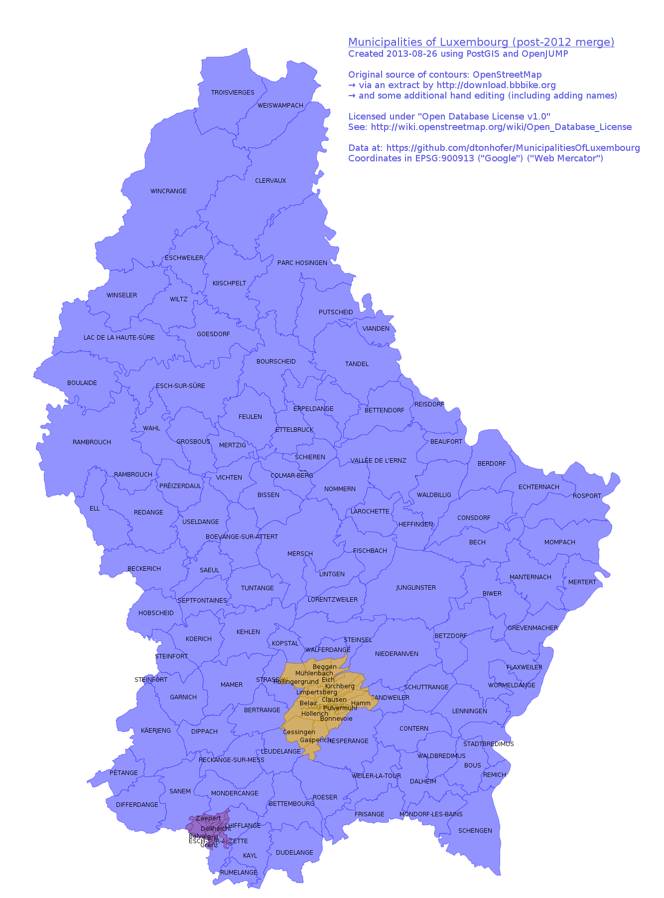 Municipalities of the Grand-Duchy of Luxembourg
