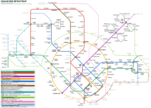 Singapore MRT and LRT System Map