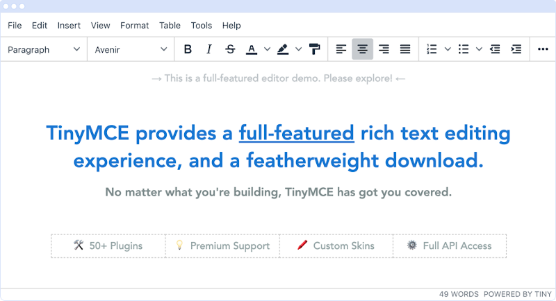 Screenshot of the TinyMCE Editor