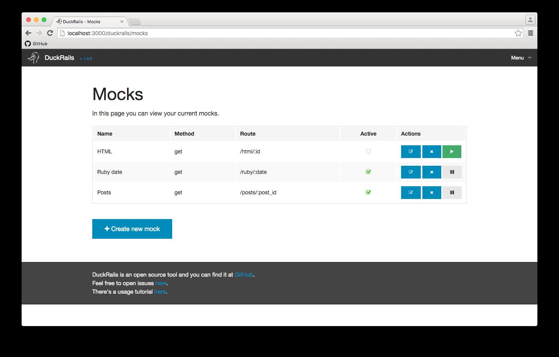 Mocks index page