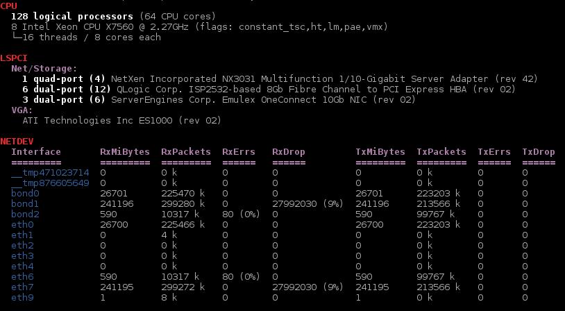 xsos parsing /proc/cpuinfo, lspci, /proc/net/dev