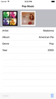 How the album app will look when the design patterns tutorial is complete