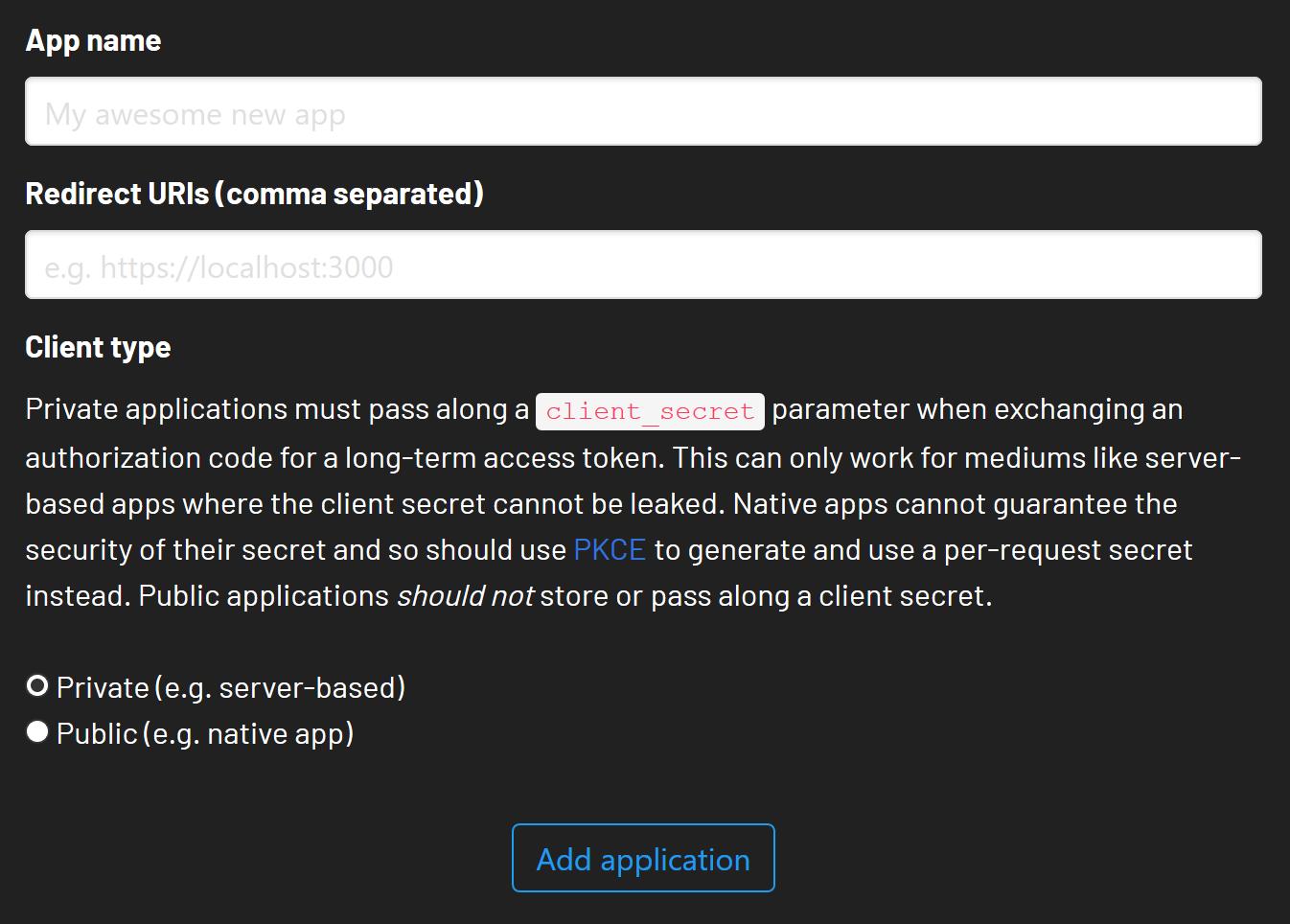 Add an OAuth application