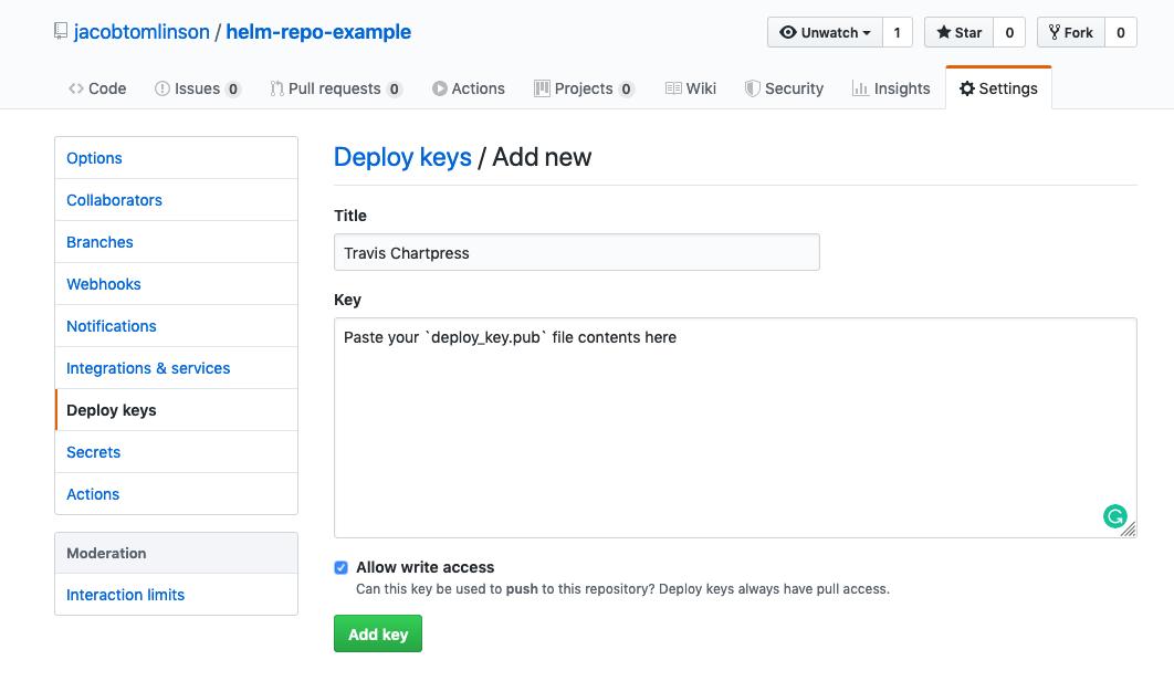 Creating deploy key on GitHub