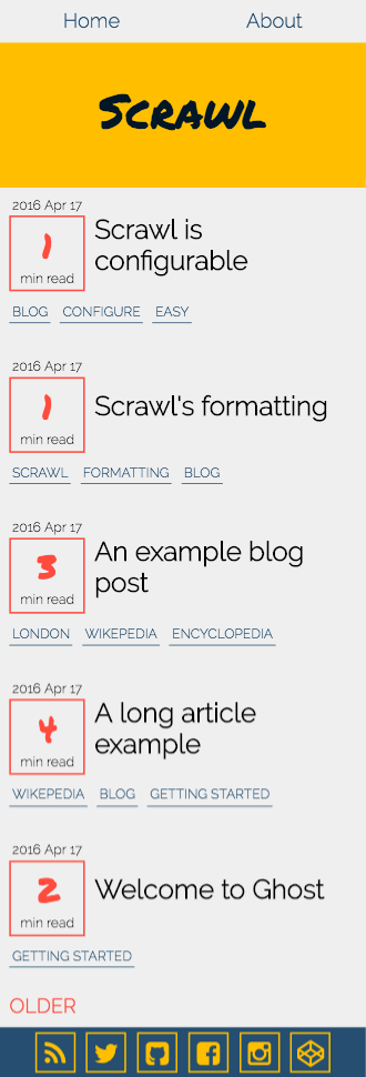 Scrawl home page example