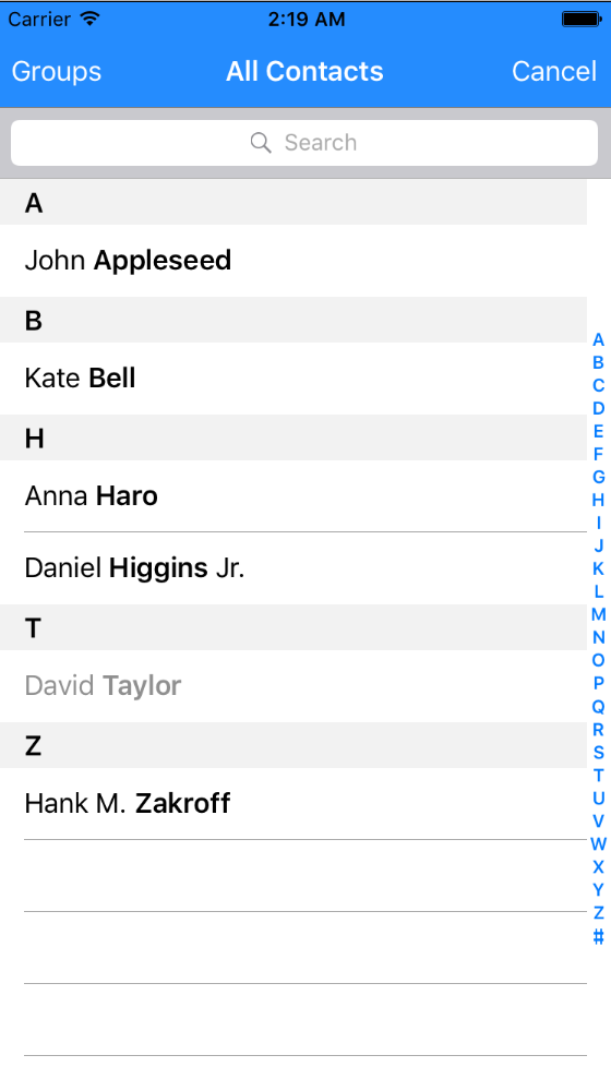 Select contact View