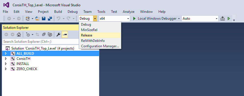 Visual Studio - Selecting build type