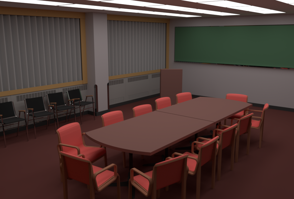 Conference Room rendered via Rust using path tracing