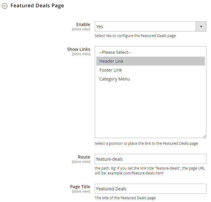 feature deals page