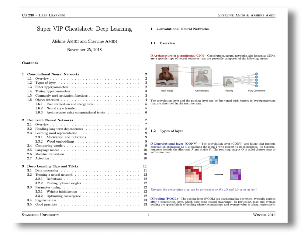 Deep learning cheat sheets