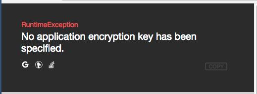 error due to no encryption key