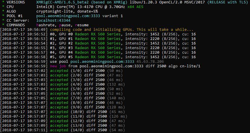 Screenshot of XMRig Daemon (miner)