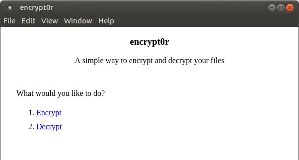 encrypt0r start screen