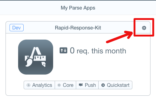Parse app settings icon